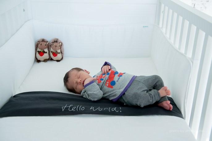 Newborn Flynn - lifestyle fotoshoot thuis - wiegje