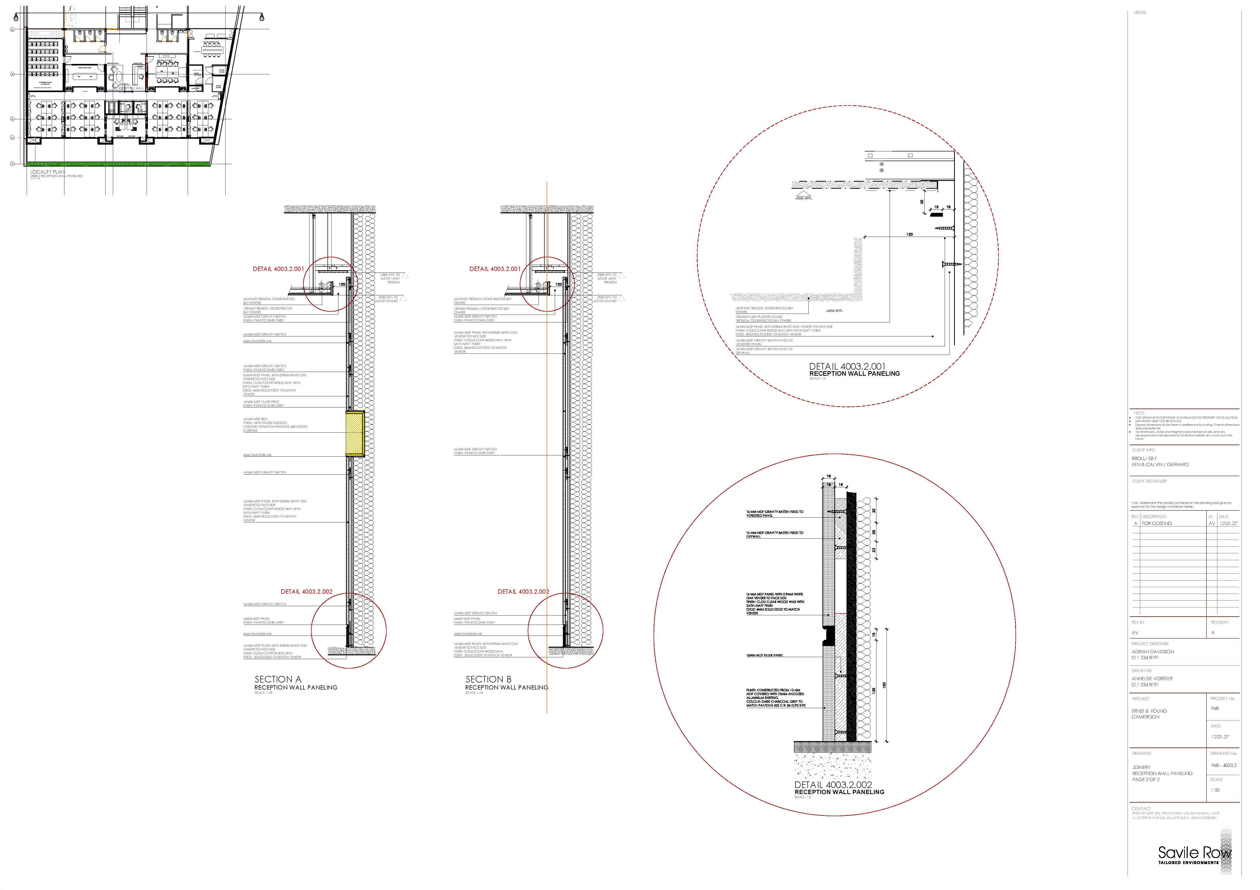Joinery Drawing: Reception Back Wall Paneling 02