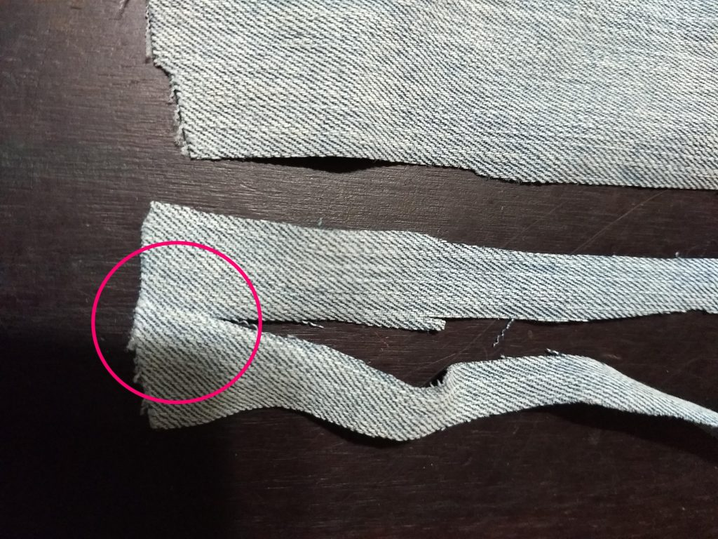 Close up of how to make fabric yarn