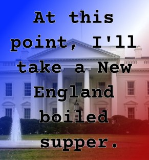 Pull Quote from Romantic fiction serial White House Rhapsody: At this point, I'll take a New England boiled supper.