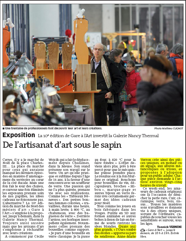 Article Gare a l Art - Nancy Thermal 2014 - ours de collection artiste