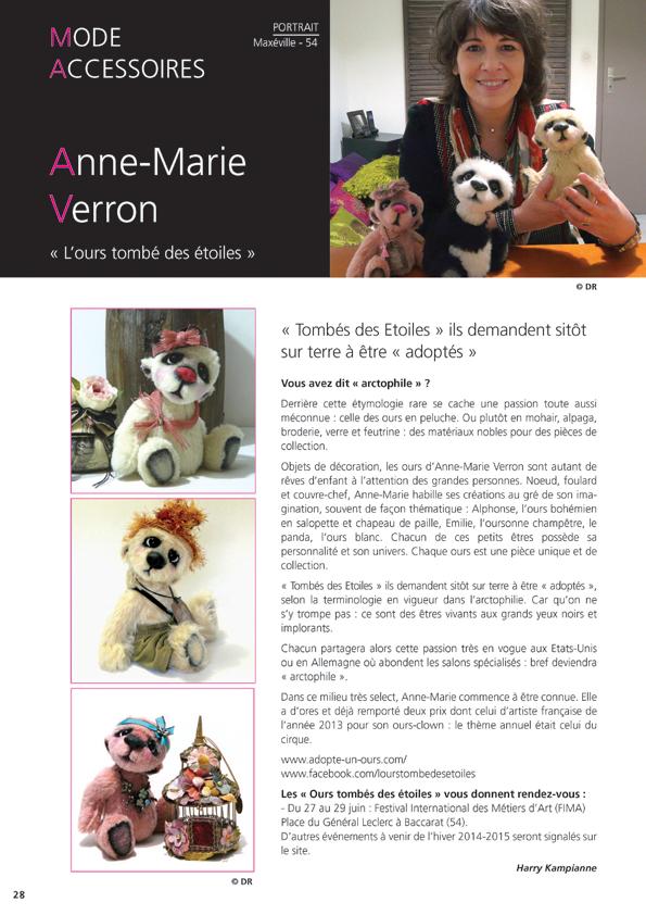 Revue Nos Arts avril mai 2014 Anne-Marie Verron sculpture textile lorraine