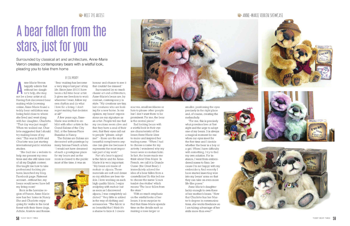 Teddy Bear Times March April 2016 issue 222 ooak artist bear