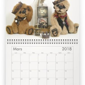 Calendrier mural 2018 ours tombe etoiles verron ours collection artiste ooak bear calendar