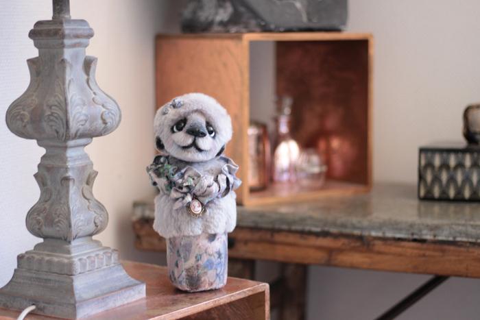 Buste sculpture textile gris objet deco decoration decoratif tissu piece unique