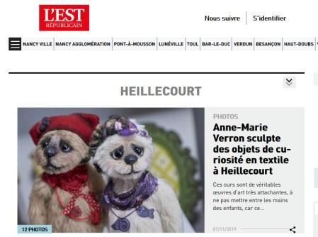 Est republicain 7-11-19 Anne Marie Verron artisan d art Heillecourt sculpte textile edition Nancy
