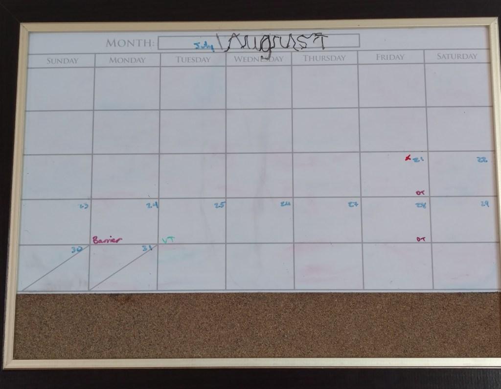 Empty August calendar