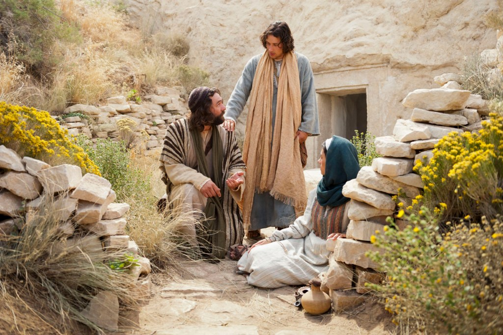 Outside the empty tomb, Peter and John invite Mary Magdalene to come back with them.
