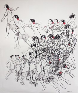 Time-Lapse image of two dancers in ink and washed out dry pigment.