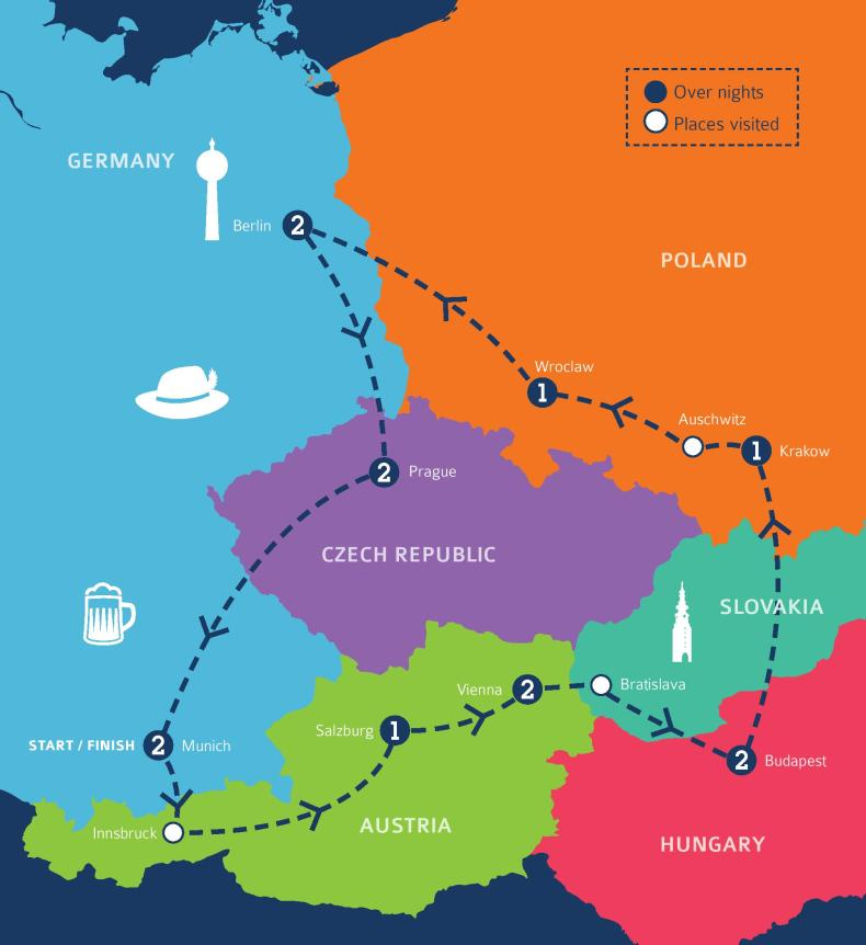 C the World Europe - Eastern Europe Itinerary - Map of Eastern Europe