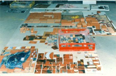 Tiles laid out in the studio