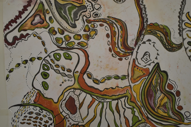 detail from a large community drawing.  Theme : organic shapes using ink and earthy colours