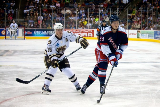 Hershey Bears Assistant Captain Garett Mitchell and Hartford Wolf Pack Forward Danny Kristo