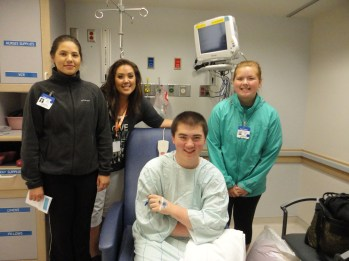 2012 July - Family picture with my daughters taken minutes before Kevin's open heart surgery.