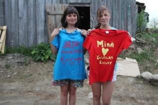 Printing T-shirts in karelian language: Jasa loves Katja, I love Karelian language.
