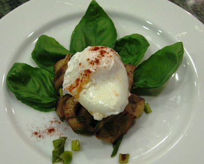 Bed of Basil Poached Egg