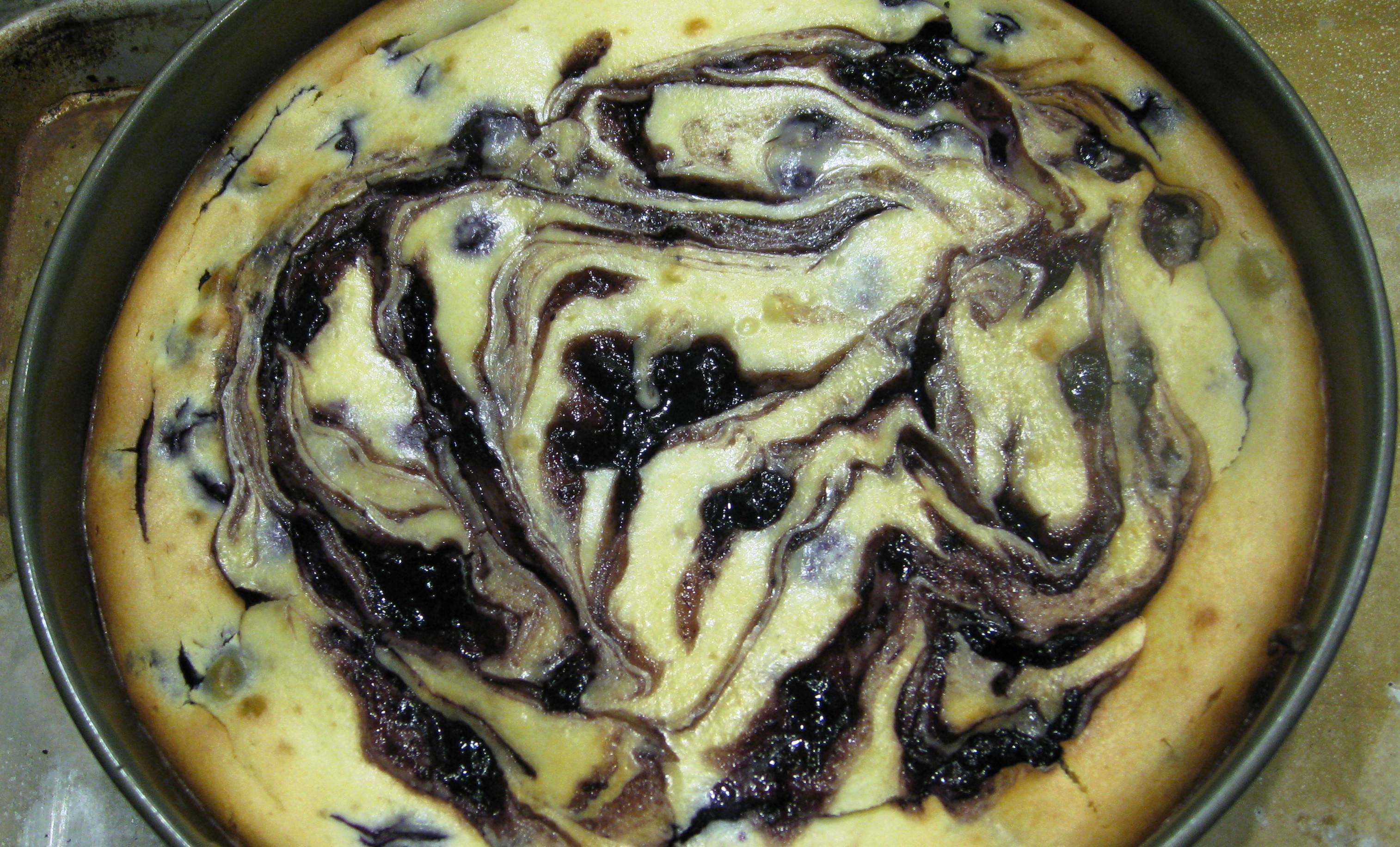 Blueberry lemon cheesecake in pan