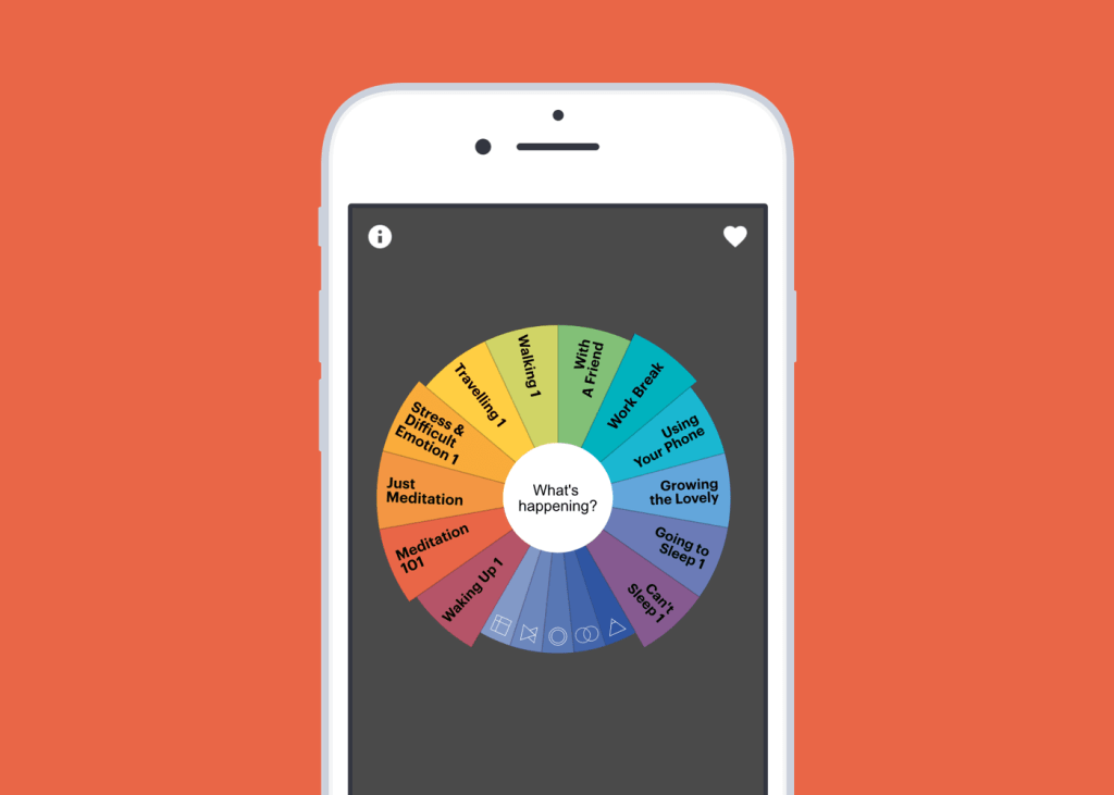 The Buddhify app provides relaxation meditations organized by what you are doing and how you're feeling to help you achieve relaxation.