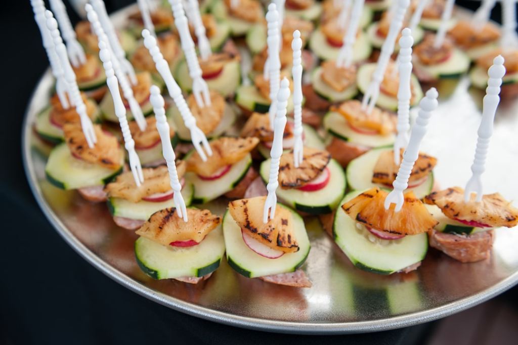 A plate of appetizers selected from a bride's tasting.