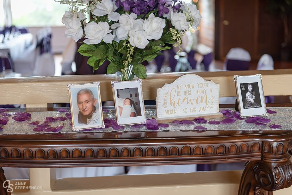 The bride pays tribute to family members who have passed and are present in spirit.
