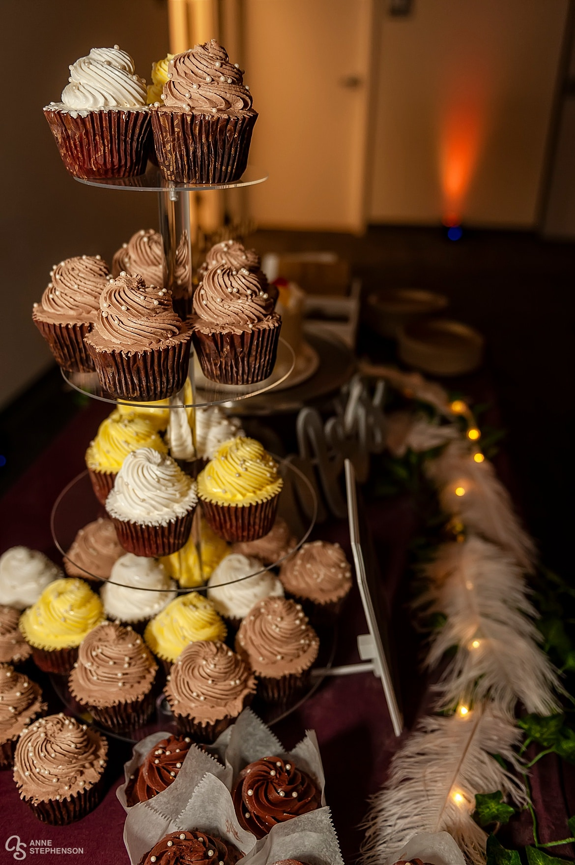 A cupcake tower made with bakery from Rheinlanders.