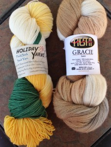 "Holiday Yarns Flock Sock (U of O Duck colors!) and Fiesta Yarns Gracie Lace.  The color is ""Vanilla"", and I love its subtle elegance."