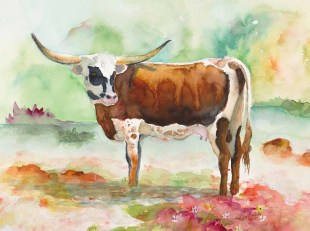 texas longhorn red and white original watercolor painting by annette bennett-088 cropped