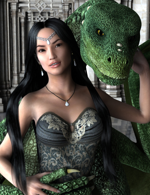 A woman being embraced by a green dragon