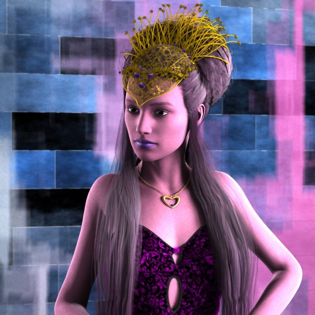 A purple-skinned woman with a golden crown