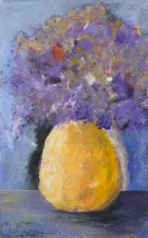 Purple Flowers,Orange Vase