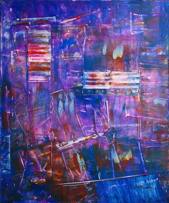 "Blue Note,  Acrylic on canvas, 36"" x 30"",  ©Mary Lou Blackledge"
