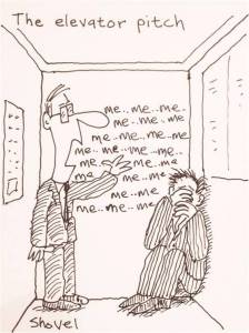 Cartoon of Elevator Pitch by Martin Shovel