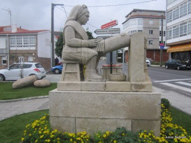 Palilleira sculpture outside lace museum in Camarinas