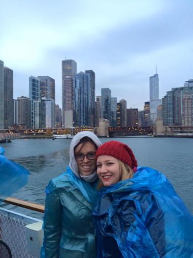 Freezing on the Chicago River Cruise!