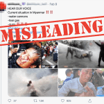 Misleading: Two pictures in this collage show protesters in Turkey, not Myanmar