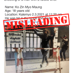 Misleading post of protester being shot at