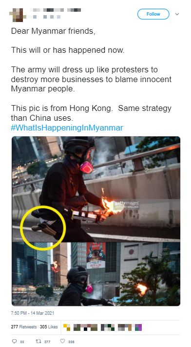 A screenshot from Twitter where the protester can be seen lighting and throwing a molotov cocktail.
