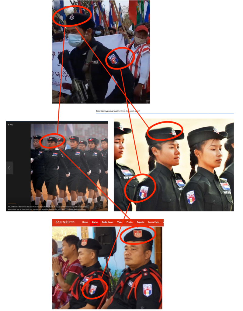 Comparison of the screenshot with photos from Karen News (bottom), Reuters (left, middle) and Frontier Myanmar (right, middle) shows the members of the KNPF donning the same cap and uniform with the same insignia.