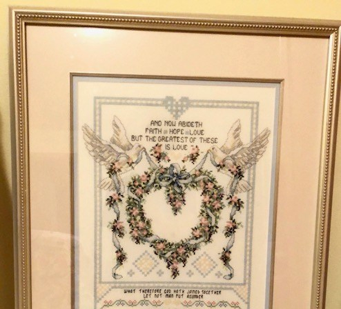 Two Doves Wedding Stitchery Picture