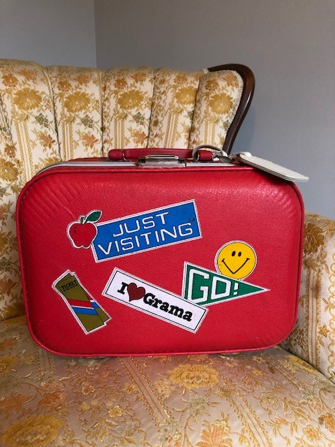 1980s Red, Just Visiting, I Love Grama suitcase