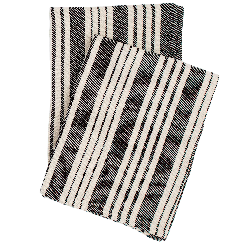 Birmingham Black Woven Cotton Throw   Dash & Albert
