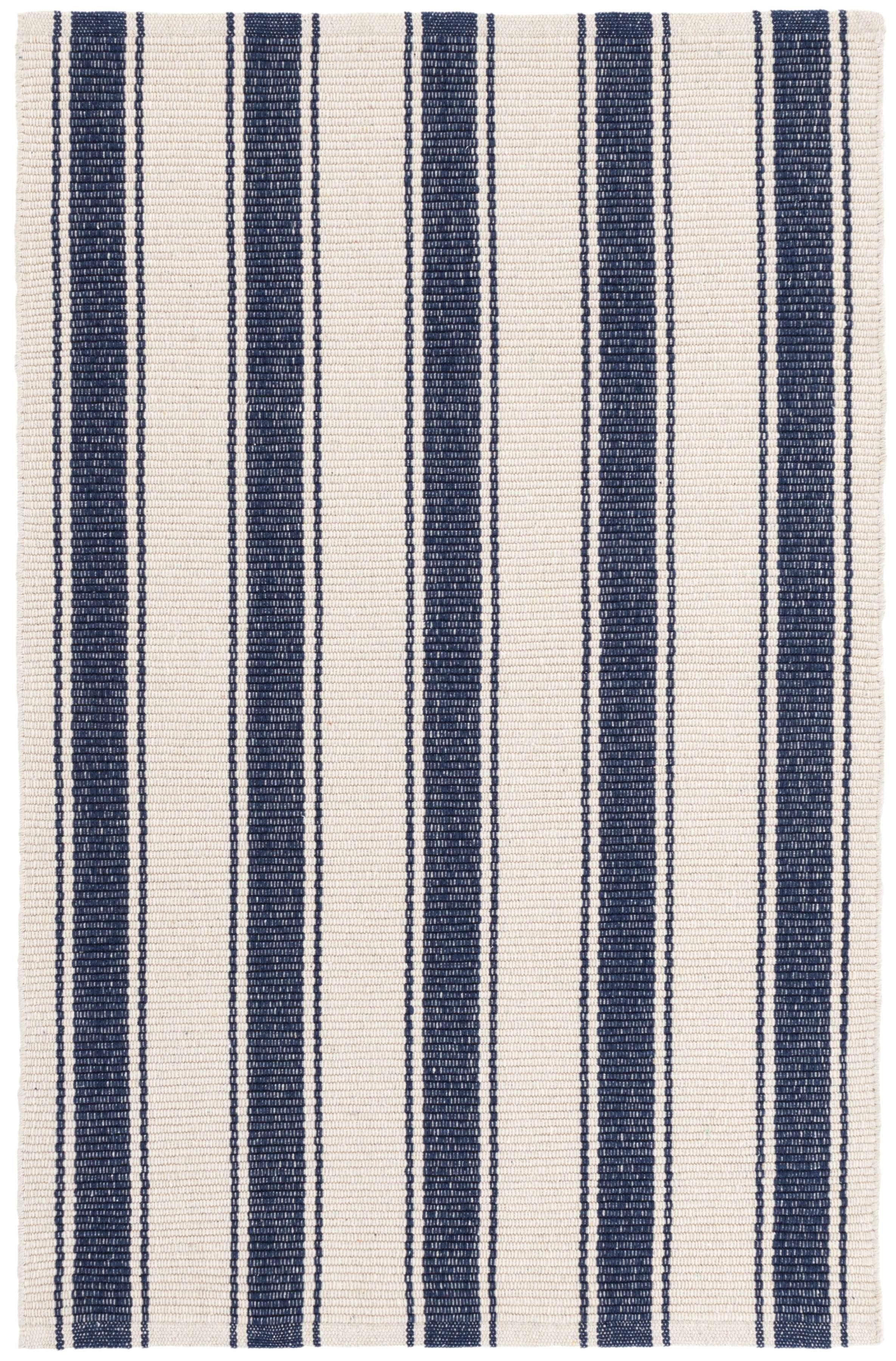 striped kitchen rug cabinets for less reviews blue awning stripe woven cotton dash and albert