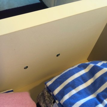 view of the inside of the drawer. All it takes is 2 screws to attach the handles.