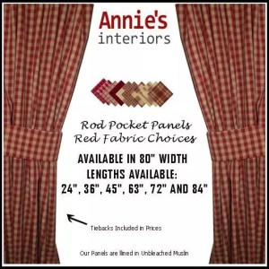 ROD POCKET PANEL CURTAINS RED COUNTRY FABRICS