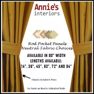 ROD POCKET PANEL CURTAINS NEUTRAL COUNTRY FABRICS
