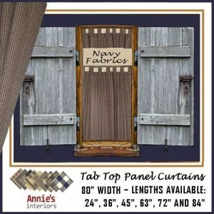 TAB TOP PANEL CURTAINS NAVY COUNTRY FABRICS