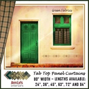 TAB TOP PANEL CURTAINS GREEN COUNTRY FABRICS