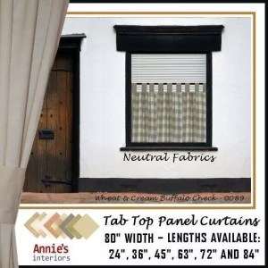 TAB TOP PANEL CURTAINS NEUTRAL COUNTRY FABRICS