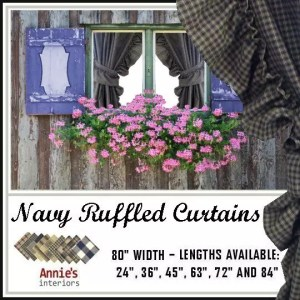 RUFFLED CURTAINS NAVY COUNTRY FABRICS