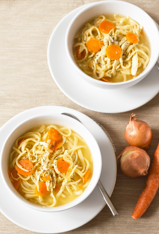 Chicken Noodle Soup | Annie's Noms - This Chicken Noodle soup is pure comfort in a bowl. With shredded chicken, egg noodles, carrots and onions, it's so easy to make and filled with flavour.